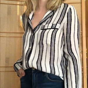A.L.C. Striped Silk Blouse